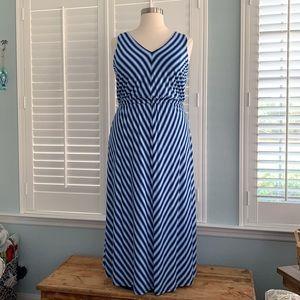 Calvin Klein Chevron Stripe Maxi Dress sz16W EUC